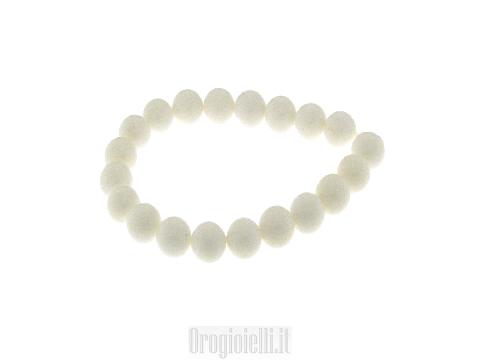 Collana girocollo pietra shell bianca lucida
