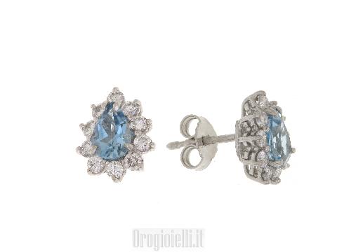Orecchini Alta Gioielleria - Acquamarina a goccia e diamanti