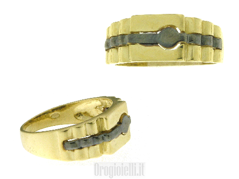 Anello Hip Hop in oro 18k