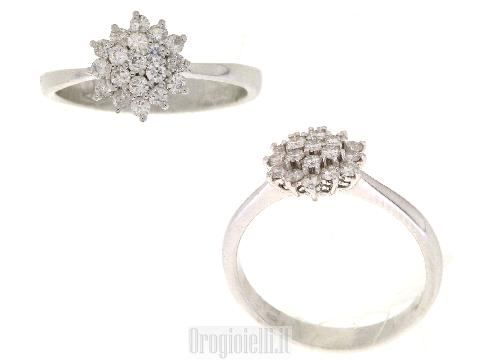 Anello a fiore con diamanti in oro 18ct