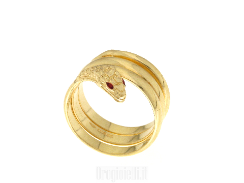 Anello a serpente in oro giallo