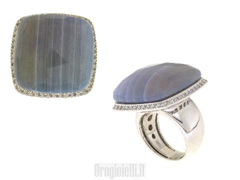 Anello argento con pietra colorata