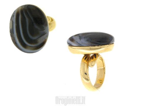 Anello argento dorato pietra colorata
