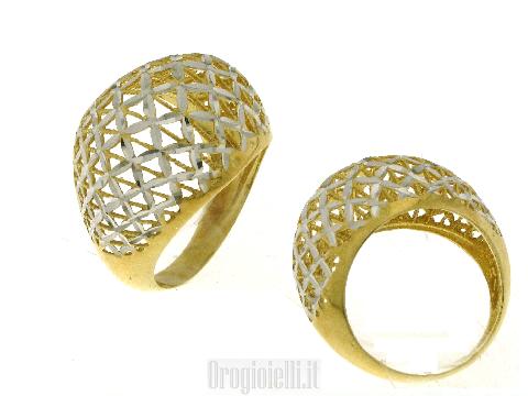 Anello bicolore diamantato