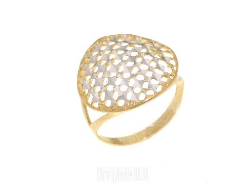 Gioielli in oro Made in Italy - Anello bicolore traforato