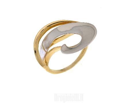 Gioiello in stile moderno Anello bicolore oro 18 kt