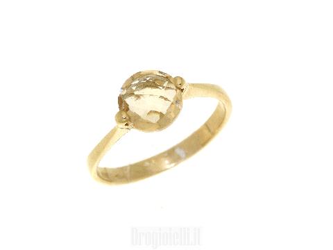 Gioielli donna in oro Anello centrale topazio giallo