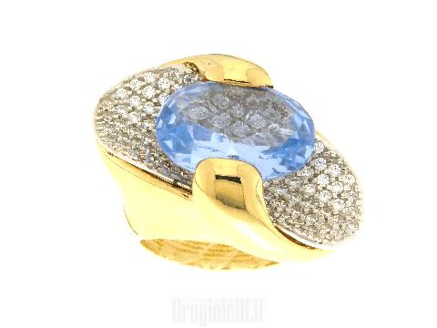 Anello donna oro con pavè di zirconi e topazio azzurro