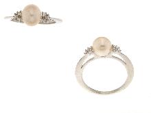Anello con perla e zirconi FRATELLI BOVO