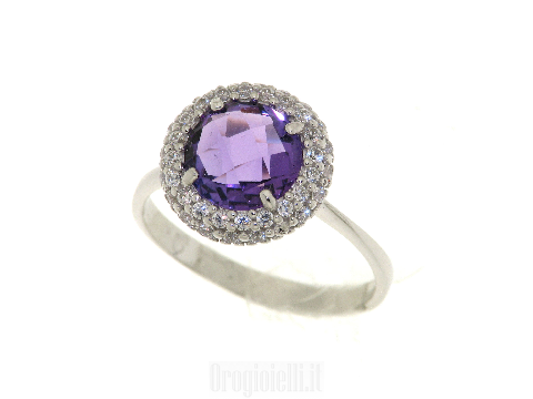 Anello con pietra viola