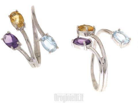 Anello Fashion con pietre colorate in oro bianco
