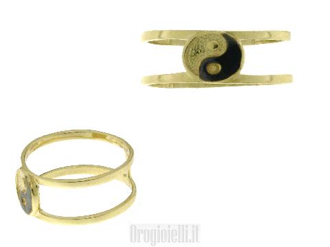 Anello con simbolo del Tao in oro giallo e oro nero
