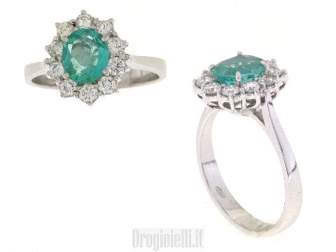 Anello con smeraldo naturale e diamanti