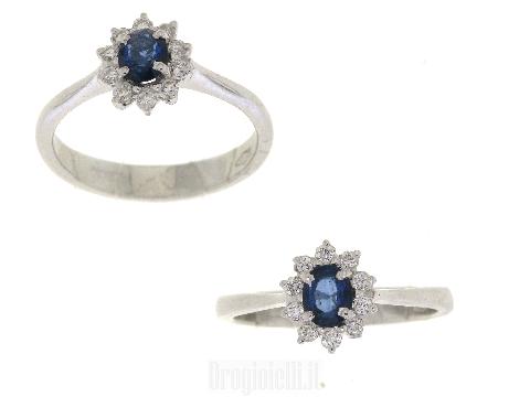 Anello diamanti e zafferi in oro bianco