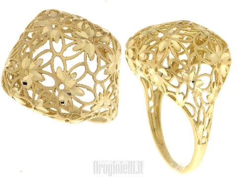 Anello donna traforato diamantato in oro