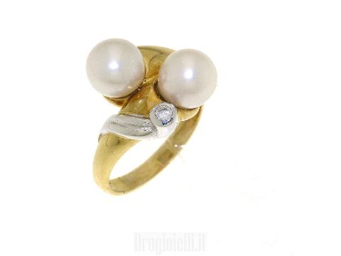 Anello doppia perla in oro giallo 18ct