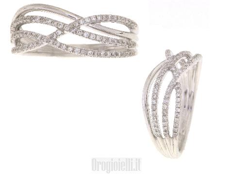Anello fantasia oro bianco e diamanti