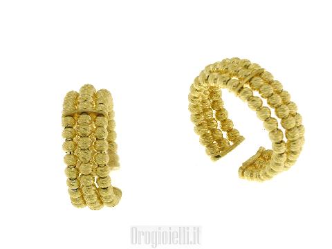 Anello fascia grande 3 file di palline (sfere) in oro giallo