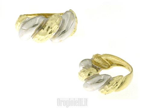 Anello fascia oro giallo diamantato e oro bianco