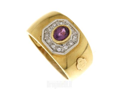 Anelli online alta gioielleria:Anello fascia oro rubino e diamanti