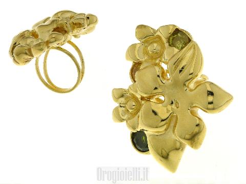 Gioiello in elettroformatura Anello grande in oro a forma di fiore