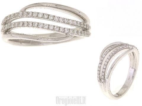Anello in oro bianco e diamanti a binari