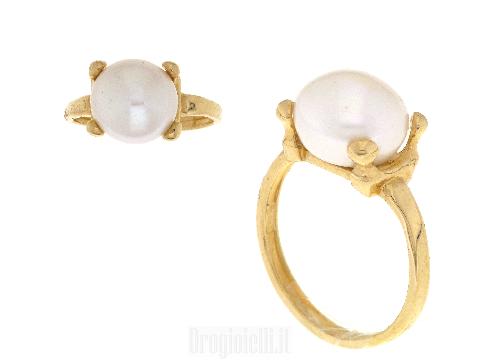 HANDMADE ITALY Anello oro giallo con perla