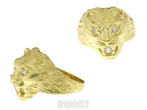 Anello pantera in oro giallo 18k
