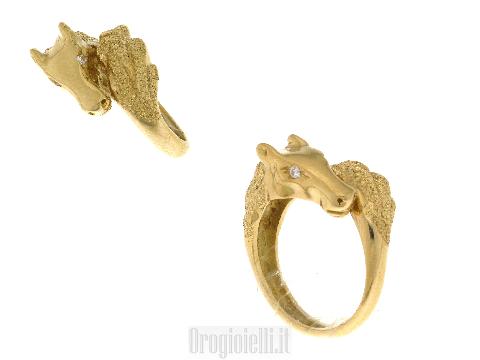 Anello particolare in oro 18 ct Testa di CAVALLO