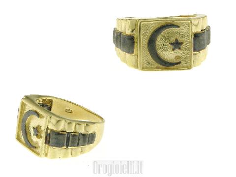 Anello simbolo Islam in oro nero