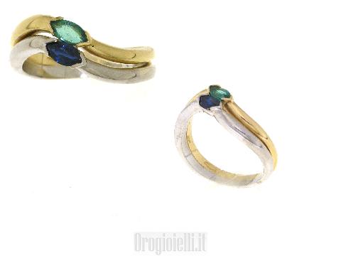 Anello smeraldo e zaffiro in oro 18 kt
