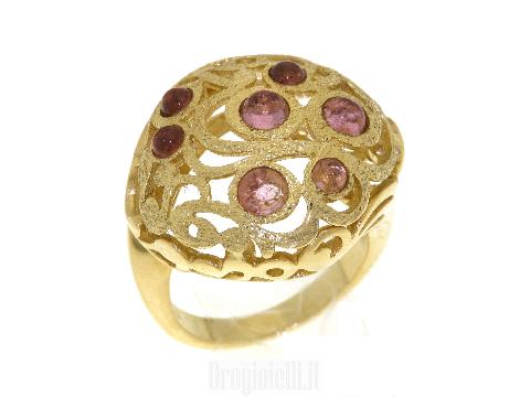 Gioielli lusso donna Anello oro traforato con tormaline rosa