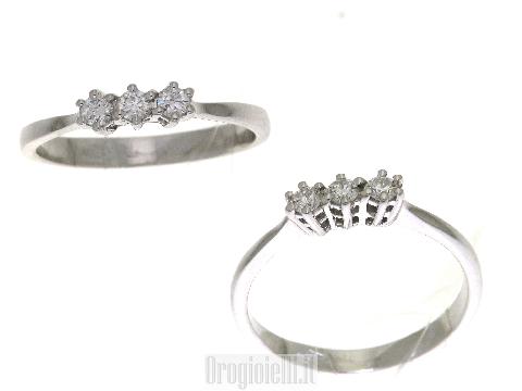 gioielli per sempre Anello trilogy con diamanti in oro 18 ct