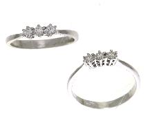 Anello trilogy con diamanti in oro 18 ct