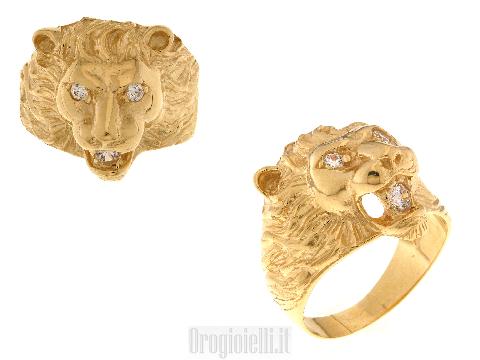 Anello uomo testa di leone e zirconi