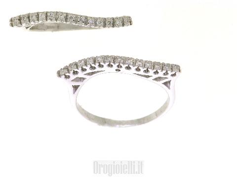 Gioiello Design Italiano Anello 18kt veretta ad onda con diamanti