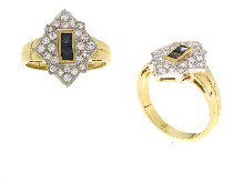 Anello zaffiri e diamanti in oro giallo