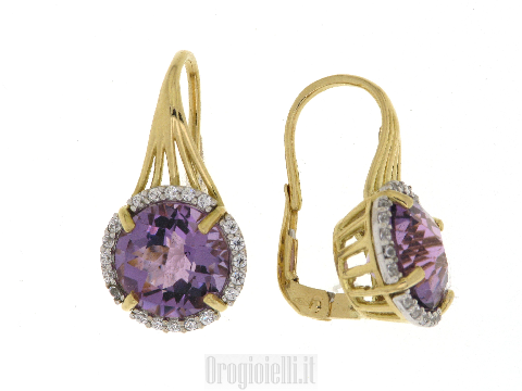 Bellissimi orecchini con ametista in oro