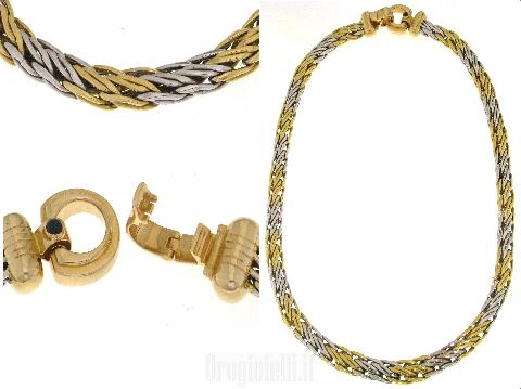 Bellissimo girocollo bicolore in oro bianco e oro giallo