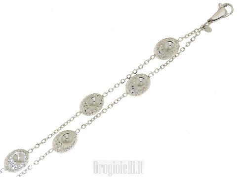 Bracciale Novello a doppio filo in oro bianco 18 kt