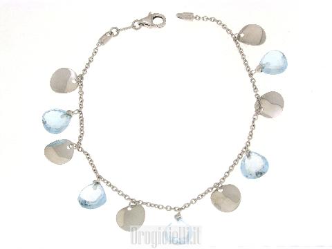 Bracciale PRINCIPESSA con ciondoli in oro bianco e topazio azzurro