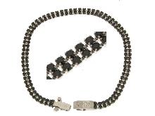 Bracciale TENNIS con zirconi neri alternati doppia fila