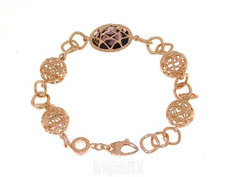 Bracciale  sfere ed ametista in bronzo