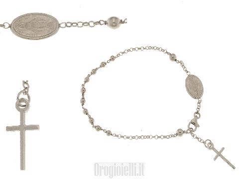 Bracciale a rosario in oro bianco 18 carati