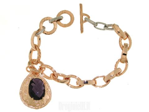 Bigiotteria per donna Bracciale acciaio e bronzo con pendente viola