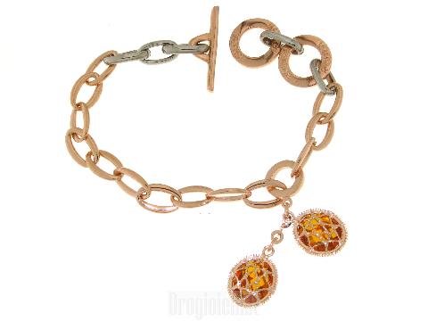 Bracciale acciaio e bronzo con pendenti
