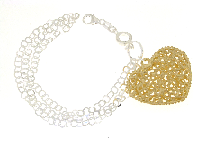 Bracciale argento con cuore charms