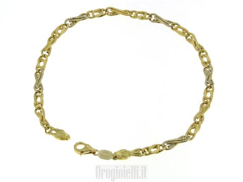 Bracciale bicolore vuoto in oro 18 carati
