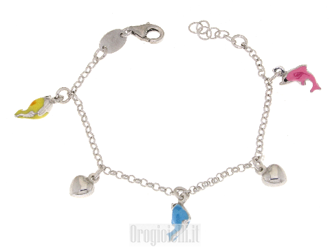 Bracciale charms in argento con delfini