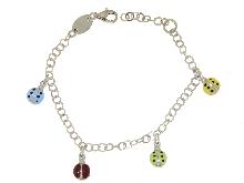 Bracciale charms portafortuna argento